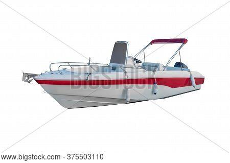 White Motor Boat Isolated On White Background