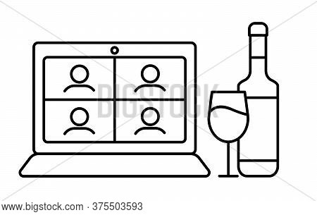 Online Wine Party With Glass Of Wine And Bottle Of Sparkling Wine. On Laptop Screen Friends Drink Al