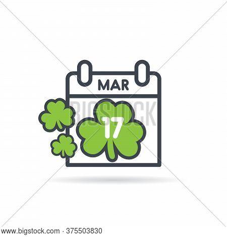 St Patricks Day Calendar. March 17th Vector Illustration