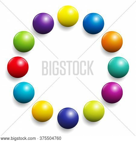 Colorful Ball Circle. Very Shiny Spectrum Of Colors Formed By Twelve Balls. Vector Illustration On W