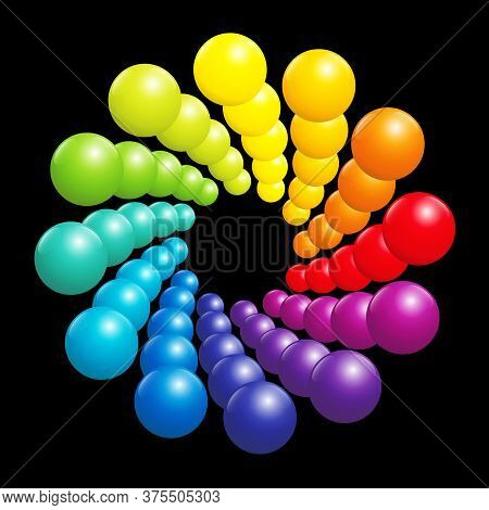 Colorful Spiral Pattern, Very Shiny Rainbow Spectrum Formed By Many Three-dimensional Colored Balls.