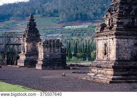 Semarang, Indonesia - 15 Nov 2018: Candi Arjuna Hindu Temple Appears At Dawn, In Dieng Plateau, Cent