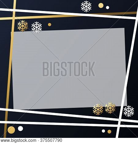 Festive Winter Dark Background With Frame Of Golden And White Snowflakes And Confetti For Decoration
