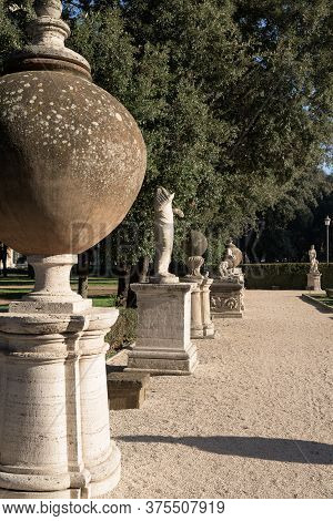 Rome, Italy - 16 Feb 2020: French Gardens And Elevation Of The Casino Borghese, A Renaissance Period