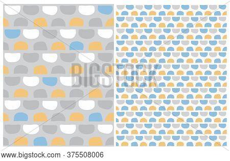 Cute Hand Drawn Abstract Irregular Semi Dots Vector Patterns. Gray, Yellow And Blue Semi Circles On