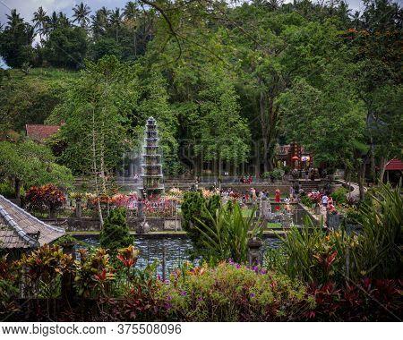 Bali, Indonesia - 25 Nov 2018: The Central Tiered Fountain And The Tirtagangga Royal Palace Gardens