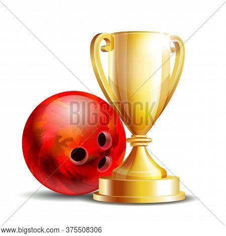 Bowling Game Award. Bowling Ball And Golden Cup.