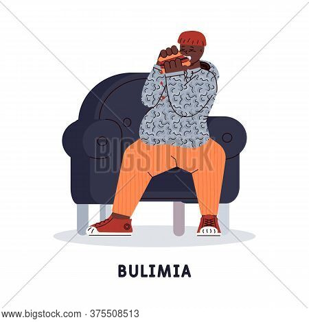 The Man Suffers From Mental Disorder - Bulimia - Uncontrollable Urge To Eat A Many Of Junk Food. Vec