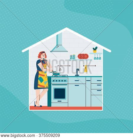 Woman Cooking Food At Home - Cartoon Girl In Kitchen Standing By Stove Tasting Soup From Boiling Pot