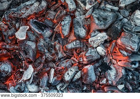 Texture Embers Closeup. Embers After A Fire.