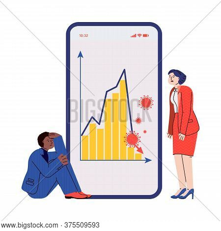 Covid-19 Finance Crisis - Sad Business People Looking At Stock Market Crash Graph On Mobile App On P