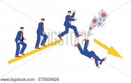 Business Man On Success Route Kicked Down By Coronavirus. Cartoon Businessman Walking On Upward Grap