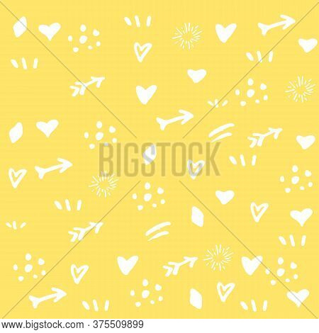 Yellow Background With White Signs Of Hearts And Arrows For Decoration Or Design, Poster Or Banner,
