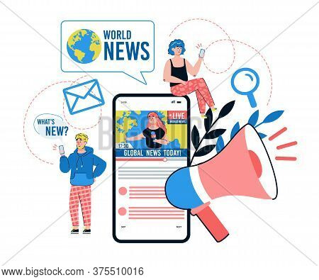 Online News Mobile Application Concept With Tiny People Cartoon Characters Sending Newsletters And M