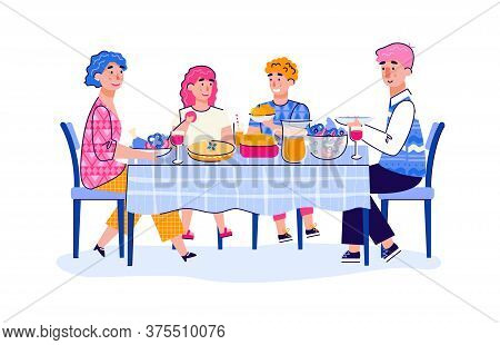 Family Of Parents And Teenage Children Having Lunch Together At Home, Cartoon Vector Illustration Is