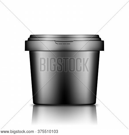 Black Bucket With Cap Mockup Isolated From Background: Ice Cream, Yoghurt, Mayonnaise