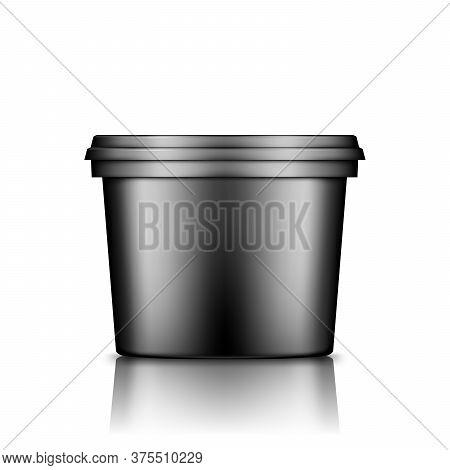 Black Bucket With Cap Mockup Isolated From Background: Ice Cream, Yoghurt, Mayo