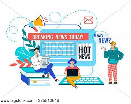 Online News Update And Breaking News Banner With Tiny People At Laptop, Flat Cartoon Vector Illustra