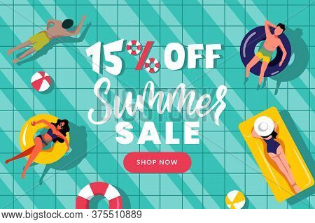 Summer Sale Banner Poster Design Template. People Swim In Swimming Pool, Top View Vector Flat Cartoo