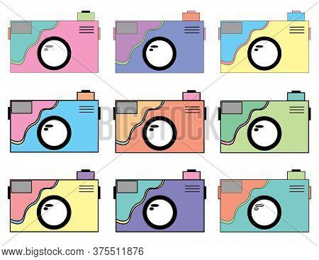 Whimsical Flat Illustration Camera Set