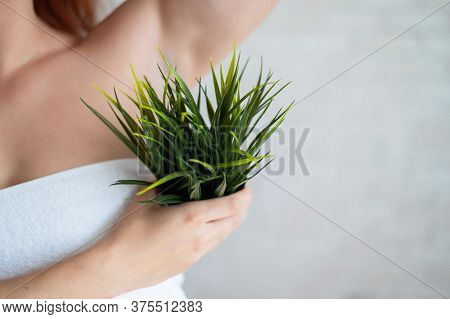 Close-up. Cropped. A Woman In A White Towel Holds An Armpit In A Pot With A Plant Simulating Unwante
