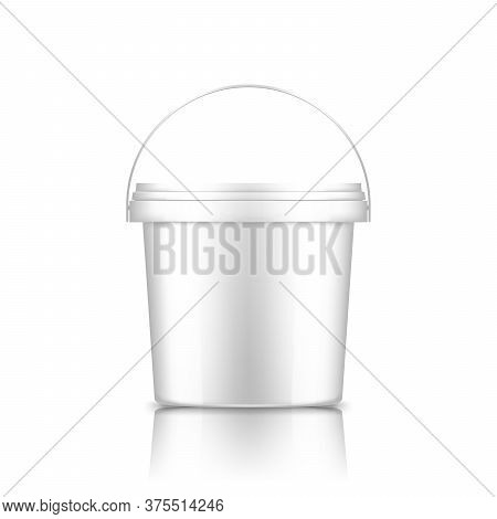 Bucket With Handle Mockup Isolated On White Background: Ice Cream, Yoghurt, Mayo, Paint, Or Putty Co