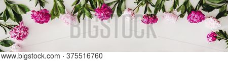 Flat-lay Of Pink And Purple Peony Flowers Over White Background