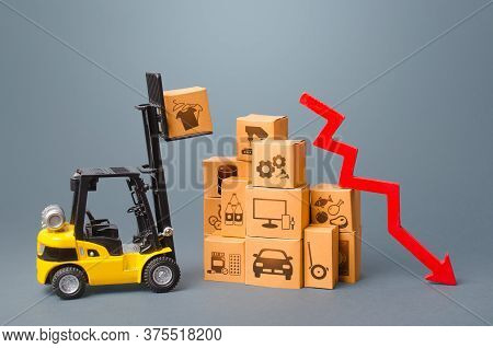 Forklift With Boxes And Red Arrow Down. Drop Of Performance Production Of Goods. Import Export Tradi