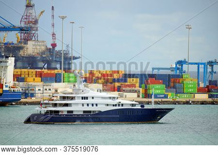 LAS PALMAS DE GRAN CANARIA, MAY 27, 2020: Las Palmas Harbour in Gran Canaria, Spain, Europe
