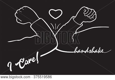 Elbow Bump Handshake, I Core! Quarantine, Social Distance Methods, Coronavirus, Hello 2020 Black And