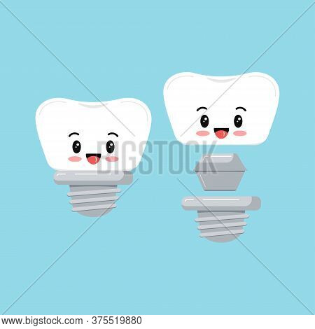 Cute Dental Implant Tooth Emoji Icon Set Isolated On Blue Background. Sweet Smilling Teeth Prosthesi