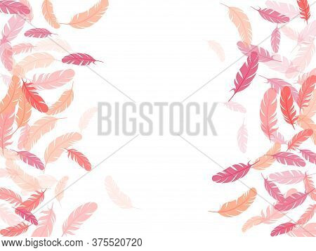 Minimalist Pink Flamingo Feathers Vector Background. Plumage Fluff Dreams Symbols. Lightweigt Plumel