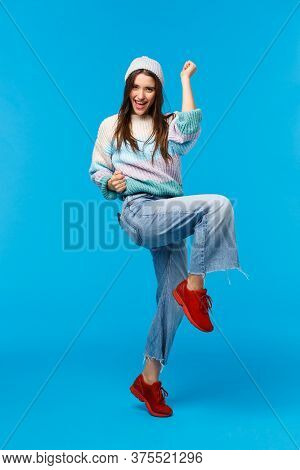 Full-length Vertical Portrait Confident And Happy, Triumphing Lucky Woman Won Prize On Lottery, Wint