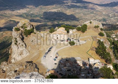 aerial view stone cathedral of Caltabellotta, monument of religion architecture in Sicily and historical landmark of medieval age