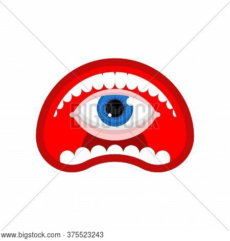 Eye Inside Open Mouth Isolated. Mouth With Eyeball Inside Cartoon. Vector Illustration