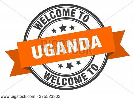 Uganda Stamp. Welcome To Uganda Orange Sign