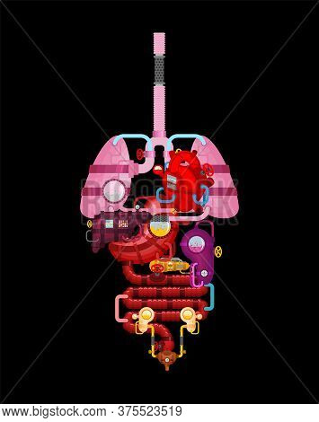 Metal Human Anatomy Organs. Artificial Organ. Cybernetics Future. Robot Systems Of Man Body. Robotic