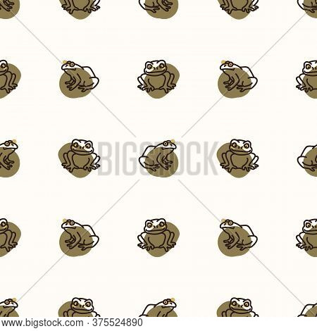 Seamless Background Amphibian Frog Gender Neutral Baby Pattern. Simple Whimsical Minimal Earthy 2 To