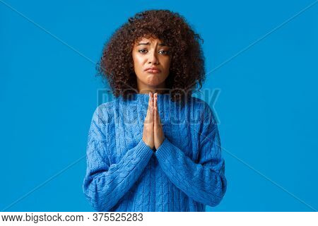 Please Help Me. Sulking Gloomy Cute African-american Female Friend With Afro Haircut, Press Hands To