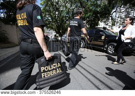 Salvador, Bahia / Brazil - October 16, 2017: Federal Police Officers Are Spotted Leaving Federal Dep