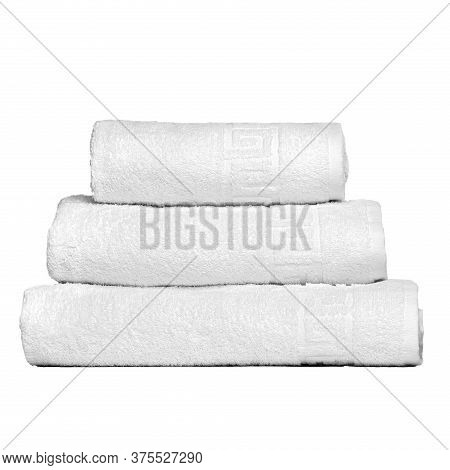 3 Frotte Towels White Color, Bedroom Towel White Backgroung. Colorful White Bath Towels Isolated On