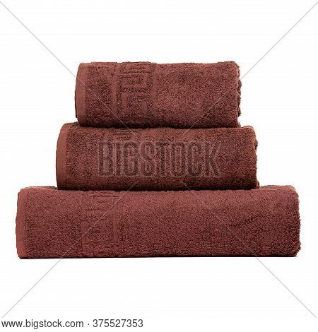 3 Frotte Towels Brown Color, Bedroom Towel White Backgroung. Colorful Brown Bath Towels Isolated On