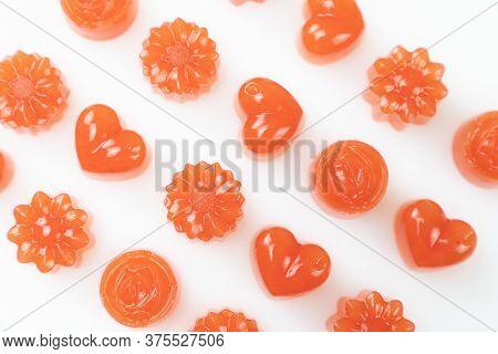 Homemade Watermelon Jelly Or Agar Agar In Heart And Flower Shapes