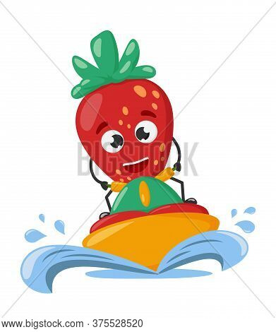Strawberry Character Rides A Jet Ski. Cute Funny Strawberry. Vacation Concept. Tropical Hawaii Lifes