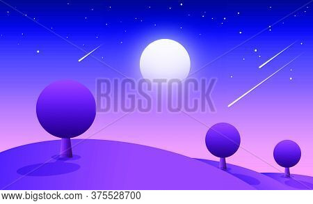 Illustration Of Night With White Moon And Stars. A Landscape Which Is Animated In Appearance.