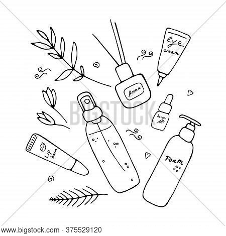 Cute Girlish Beauty Poster With Cosmetics And Tools. Skin Care Produsts. Doodle Hand Drawn Elements.