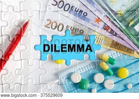 Double Exposure. Puzzles With The Image Of Pills, Medical Mask, Pens And Euro With The Inscription -