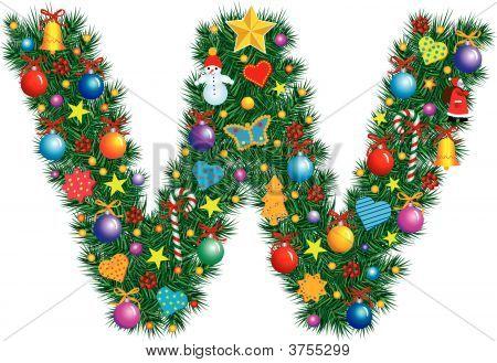 Alphabet Letter W - Christmas Decoration