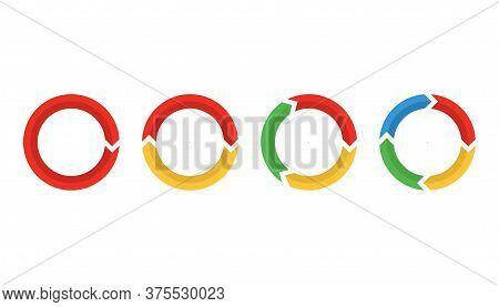 Set Of Arrows In Circle. Infographic Process In Cycle. Round Shape In Red, Orange, Green And Blue. C