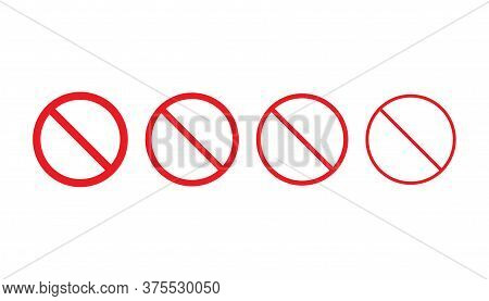 Set Of Forbidden Icons In Red Color. Warning And Caution Sign. Restriction And Attention Illustratio